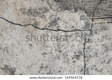 Composition of cracked concrete texture closeup background.