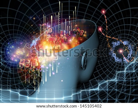 Composition of cutout of male head and symbolic elements on the subject of human mind, consciousness, imagination, science and creativity - stock photo