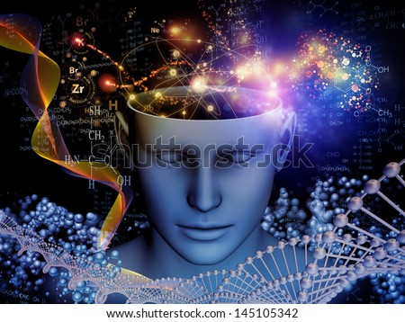 Composition of cutout of male head and symbolic elements suitable as a backdrop for the projects on human mind, consciousness, imagination, science and creativity - stock photo