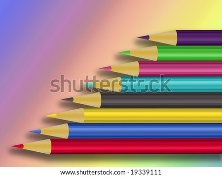 composition of different colored pencils