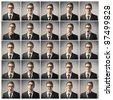 Composition of different expression of the same businessman - stock photo