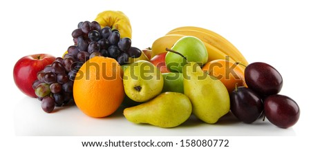 Composition of different fruits isolated on white - stock photo