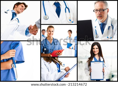 Composition of doctors at work - stock photo