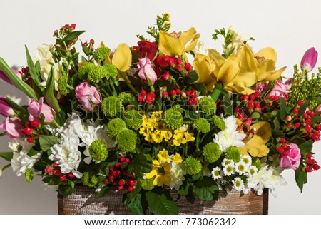 Composition flowers pink roses yellow orchids stock photo royalty composition of flowers from pink roses yellow orchids red tulips hyacinth and hrzemtem mightylinksfo