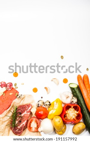 Composition of fresh ingredients, suitable as a frame. Food frame. Illustration concept. Vertical frame - stock photo