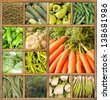 Composition of fresh vegetables framed in wood - stock photo