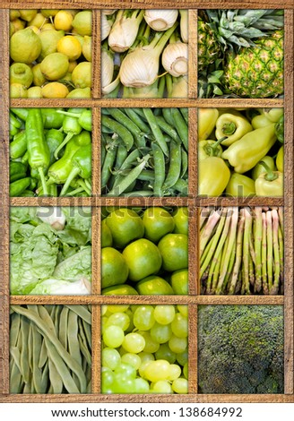 Composition of fruit and vegetables framed in wood