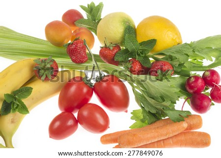 composition of fruit and vegetables on white background
