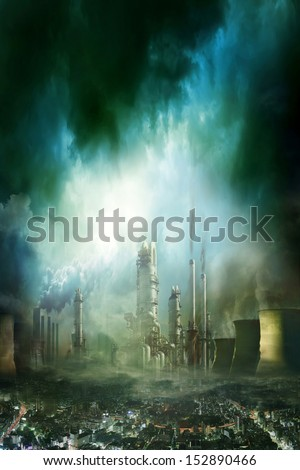 Composition of futuristic city with huge factory covered in dark clouds and smog pollution - stock photo
