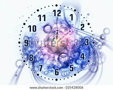 Composition of gears, clock elements, dials and dynamic swirly lines as a concept metaphor on subject of scheduling, temporal and time related processes, deadlines, progress, past, present and future