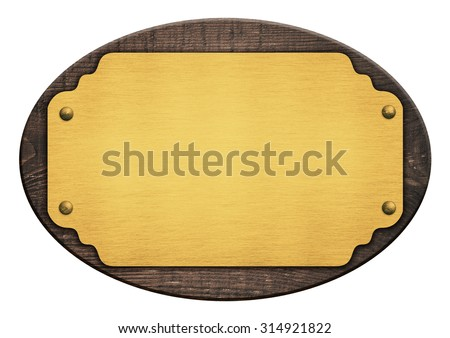 Composition of golden plaque, name plate, wooden board isolated on white - stock photo