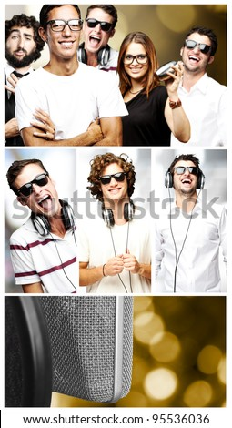 composition of happy young people - stock photo