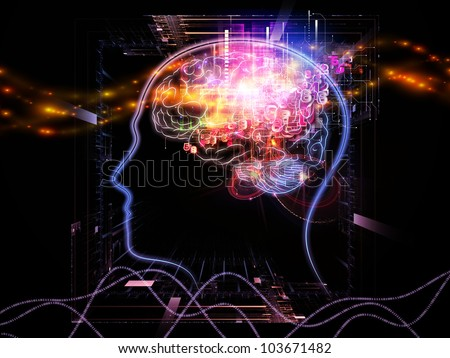 Composition of head outlines, lights and abstract design elements on the subject of intelligence,  consciousness, logical thinking, mental processes and brain power - stock photo