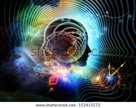 Composition of human feature lines and symbolic elements with metaphorical relationship to human mind, consciousness, imagination, science and creativity