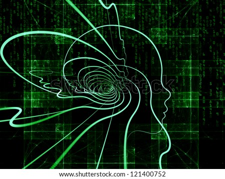 Composition of  human head and fractal grids to serve as a supporting backdrop for projects on science, technology and intelligent life in the Universe - stock photo