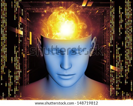 Composition of human head and symbolic elements on the subject of human mind, consciousness, imagination, science and creativity