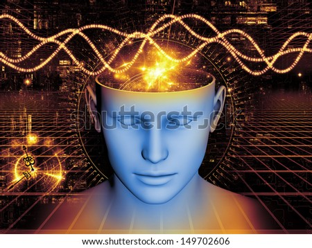 Composition of human head and symbolic elements on the subject of human mind, consciousness, imagination, science and creativity - stock photo