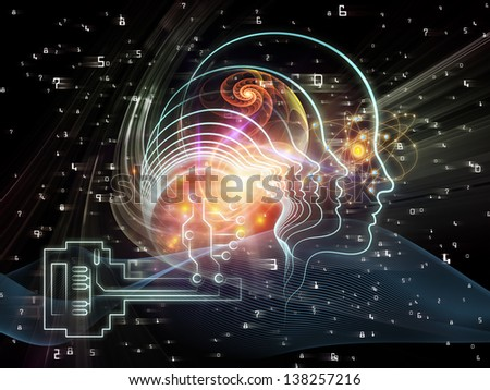 Composition of human head, key symbol and fractal design elements suitable as a backdrop for the projects on encryption, security, digital communications, science and technology - stock photo