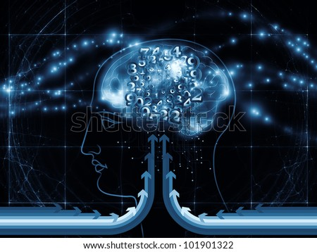 Composition of human head outlines, lights, numbers and abstract design  elements as a concept metaphor for modern technology, digital revolution, scientific thinking and technology related issues