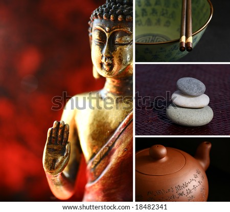 Composition of images - buddha, stones, teapot, chopsticks. Zen lifestyle. - stock photo