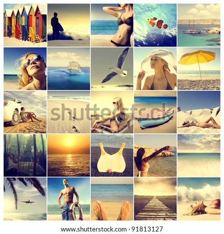 Composition of images with summer as subject - stock photo