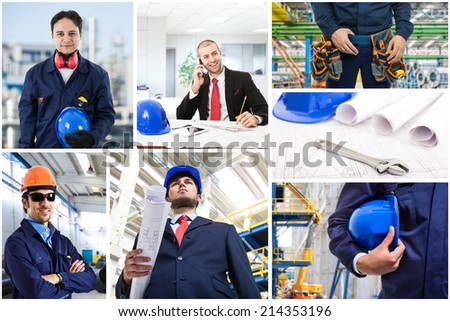 Composition of industrial workers - stock photo