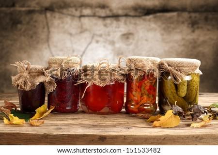 composition of jars od desk  - stock photo