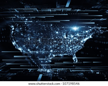 Composition of lights, numbers, grids and satellite imagery (courtesy of NASA) suitable as a backdrop for the projects on science, global computing and communication technologies - stock photo