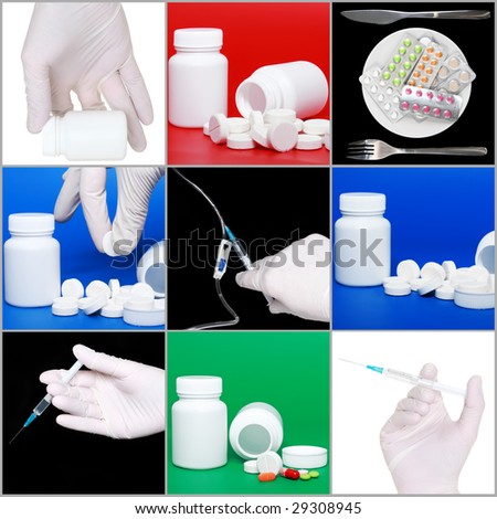 Composition  of medicine- pills bottle,infusion set,syringes on colour background. - stock photo