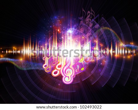 Composition of musical notes, lights, wave and sine patterns suitable as a backdrop for the projects on music, sound processing, audio performance and entertainment - stock photo