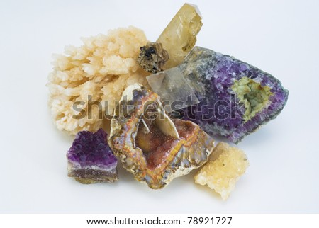 composition of natural gem stones on a white background - stock photo