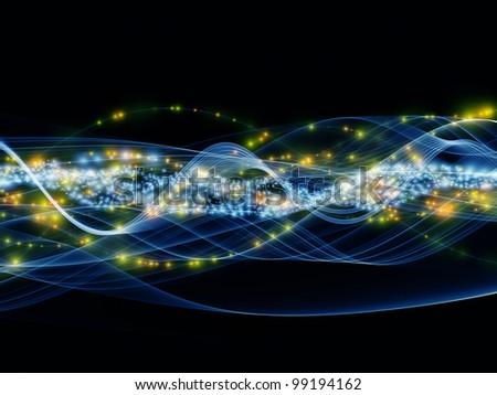 Composition of overlapping abstract  waves, colors and lights  as a concept metaphor for technology, entertainment, communications, sound and audio