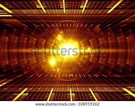Composition of perspective fractal grids, lights, mathematical wave and sine patterns as a concept metaphor on subject of modern technologies, energy, signal processing, music and entertainment - stock photo