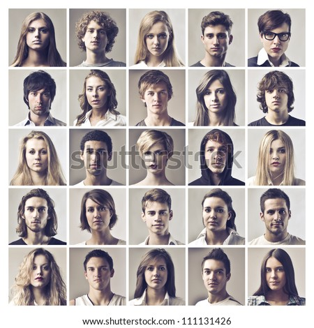 Composition of portraits of different young people - stock photo