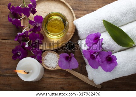 Composition of spa treatment on table