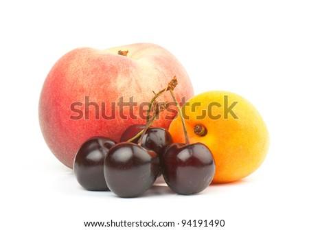 composition of the ripe mix of  fruit on a white background. studio photography
