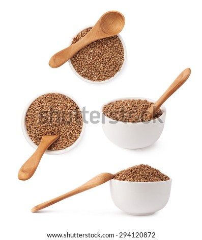 Composition of the white ceramic bowl full of the buckwheat seeds and wooden spoon,  isolated over the white background, set of four different foreshortenings - stock photo