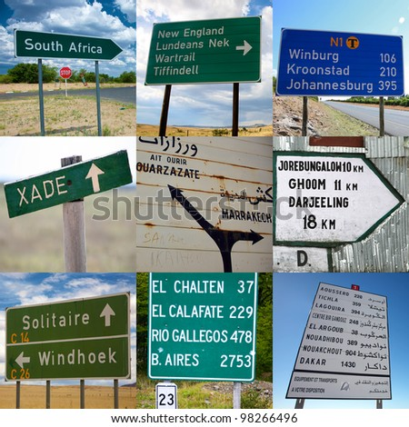 Composition of travel signs in Africa, Asia and South America - stock photo