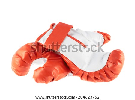 Composition of two red and white boxing gloves isolated over the white background - stock photo
