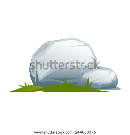 Composition of two stones and small green grass, isolated
