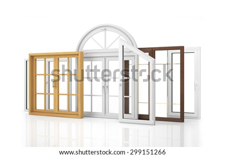 Composition of various kinds of window isolated on white background. - stock photo