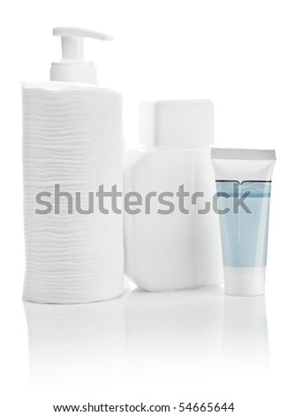 composition of white care accesories - stock photo