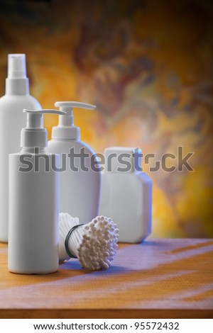 composition of white skincare items - stock photo