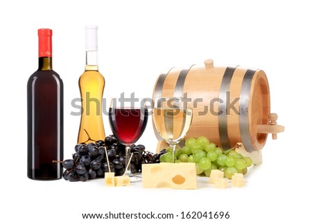 Composition of wine bottle and glass. Isolated on a white background.