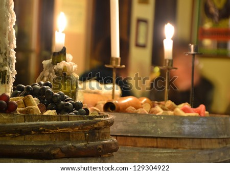 composition of wine in a restaurant - stock photo