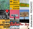 Composition of world travel signs in Africa, Asia and South America - stock photo