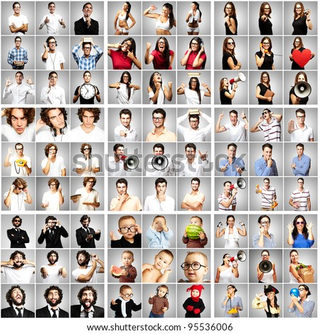 composition of young people over grey background