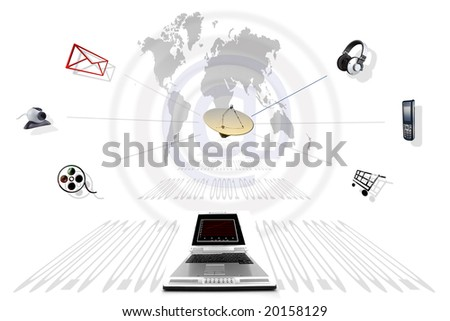 Composition that represents communication through Internet - stock photo