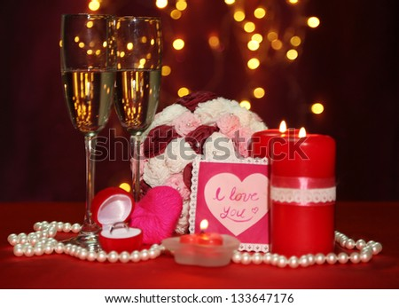 Composition Valentine's Day on lights background - stock photo