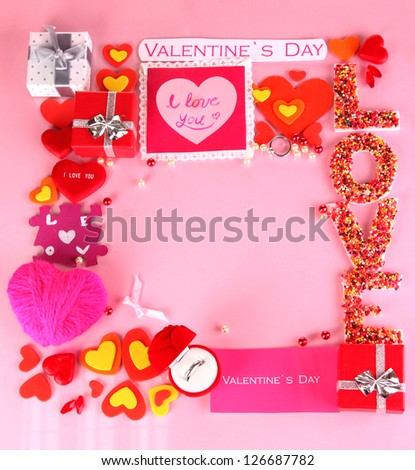 Composition Valentine's Day on pink background - stock photo